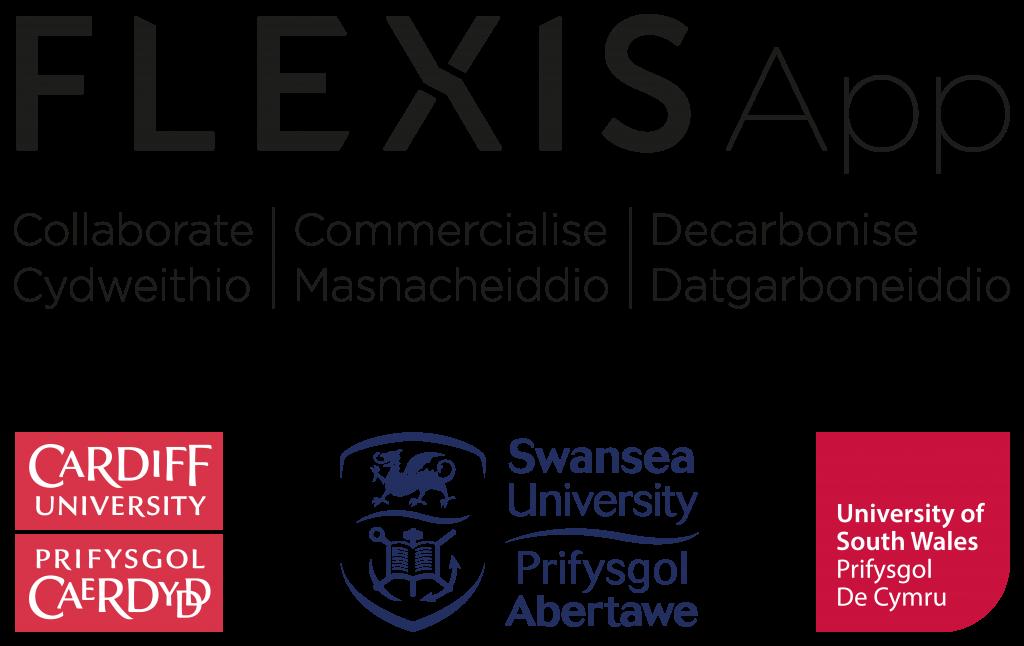 FLEXISApp logo with partners Cardiff University, Swansea University and University of South Wales