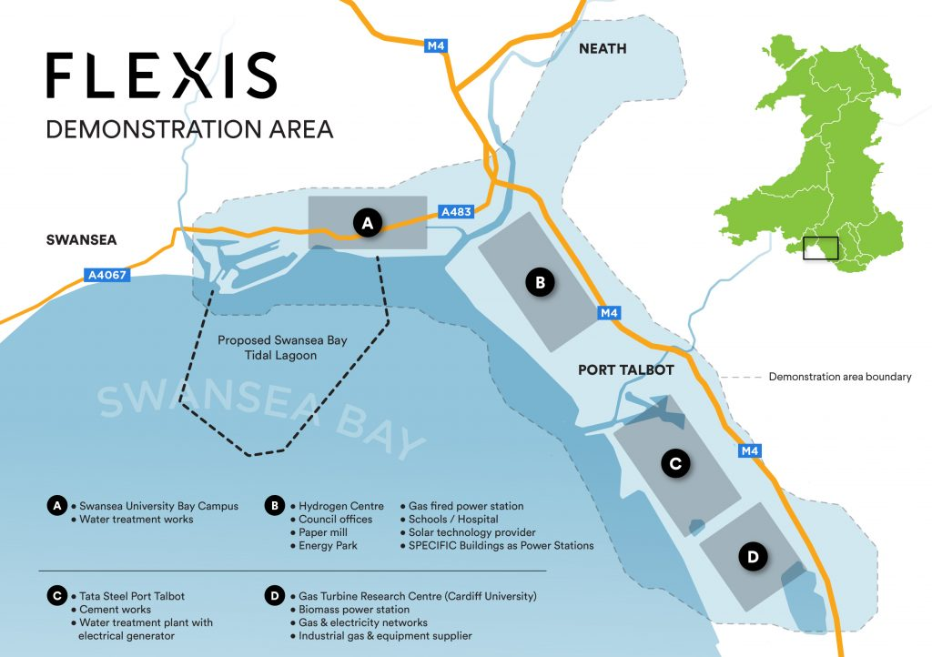 FLEXIS Demonstration Area covering much of the Neath Port Talbot region